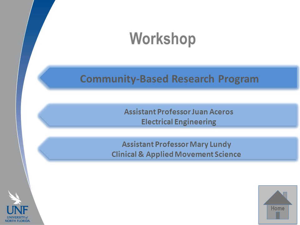 Workshop Home Community-Based Research Program Assistant Professor Mary Lundy Clinical & Applied Movement Science Assistant Professor Juan Aceros Electrical Engineering
