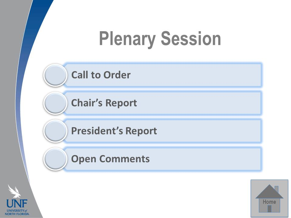 Plenary Session Home Call to Order Chair's Report President's Report Open Comments