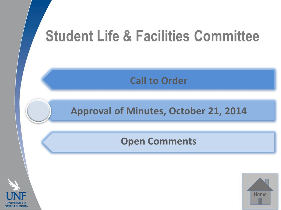 Student Life & Facilities Committee Home Call to Order Approval of Minutes, October 21, 2014 Open Comments