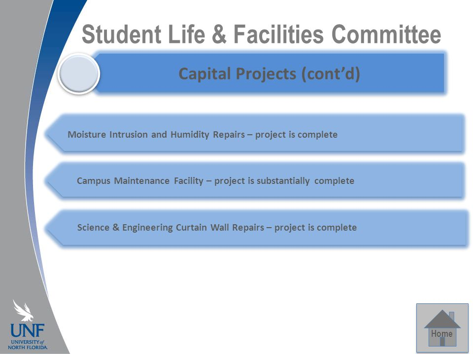 Student Life & Facilities Committee Home Capital Projects Capital Projects (cont'd) Campus Maintenance Facility – project is substantially complete Moisture Intrusion and Humidity Repairs – project is complete Science & Engineering Curtain Wall Repairs – project is complete
