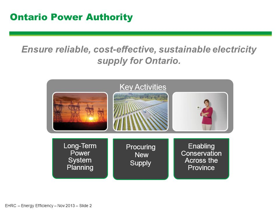 Ontario Power Authority Long-Term Power System Planning Procuring New Supply Enabling Conservation Across the Province Key Activities Ensure reliable, cost-effective, sustainable electricity supply for Ontario.
