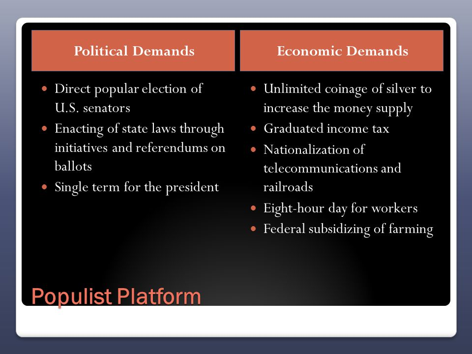 Populist Platform Political DemandsEconomic Demands Direct popular election of U.S.