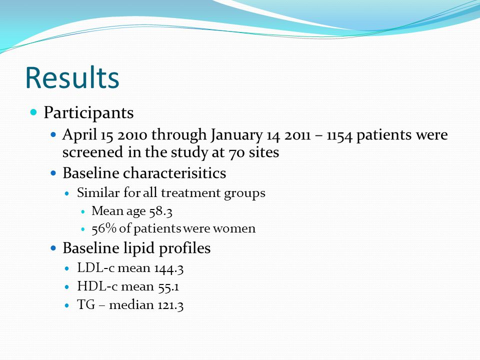 Results Participants April through January – 1154 patients were screened in the study at 70 sites Baseline characterisitics Similar for all treatment groups Mean age % of patients were women Baseline lipid profiles LDL-c mean HDL-c mean 55.1 TG – median 121.3