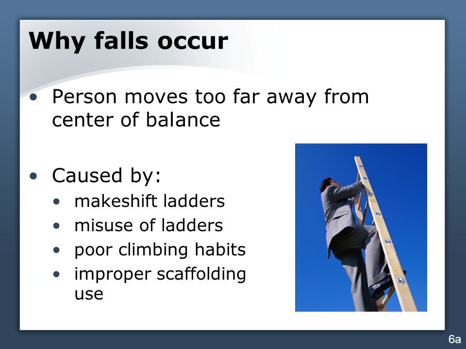 Why falls occur Person moves too far away from center of balance Caused by: makeshift ladders misuse of ladders poor climbing habits improper scaffolding use 6a