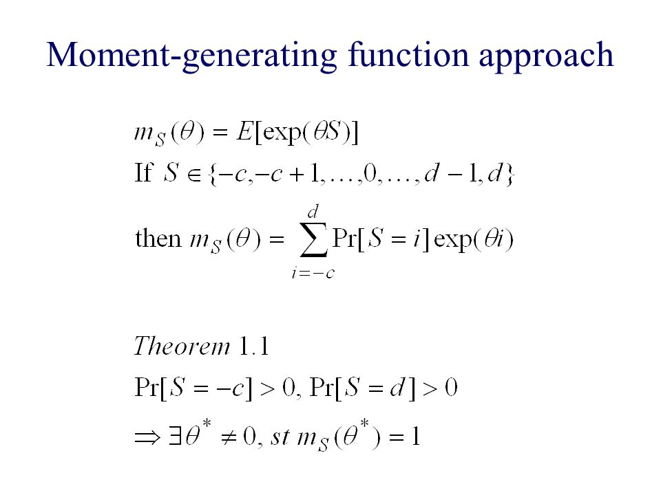 Moment-generating function approach