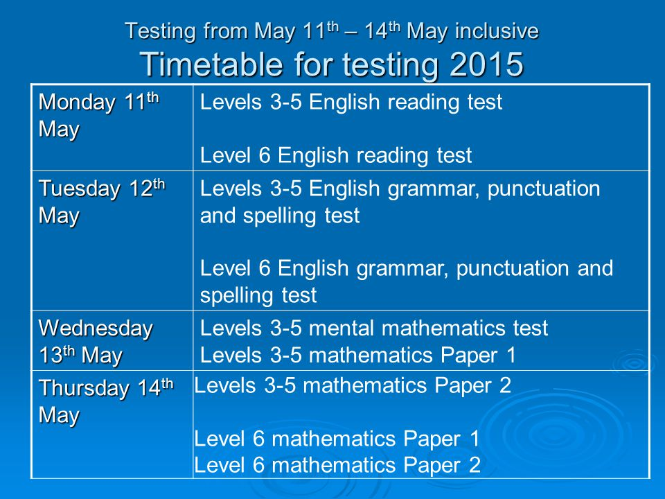 Testing from May 11 th – 14 th May inclusive Timetable for testing 2015 Monday 11 th May Levels 3-5 English reading test Level 6 English reading test Tuesday 12 th May Levels 3-5 English grammar, punctuation and spelling test Level 6 English grammar, punctuation and spelling test Wednesday 13 th May Levels 3-5 mental mathematics test Levels 3-5 mathematics Paper 1 Thursday 14 th May Levels 3-5 mathematics Paper 2 Level 6 mathematics Paper 1 Level 6 mathematics Paper 2