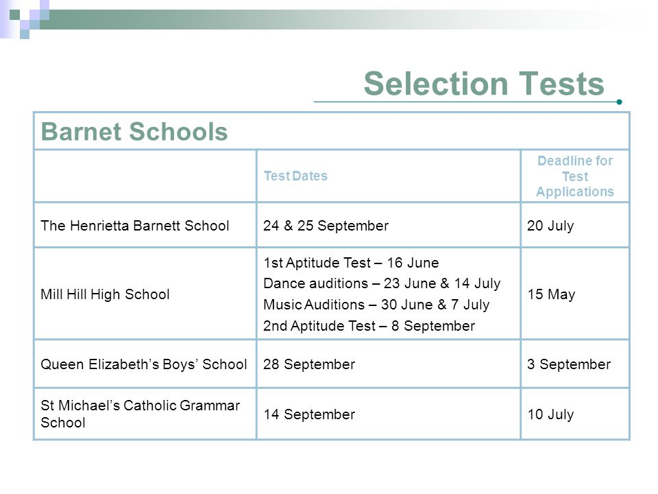 Selection Tests Barnet Schools Test Dates Deadline for Test Applications The Henrietta Barnett School24 & 25 September20 July Mill Hill High School 1st Aptitude Test – 16 June Dance auditions – 23 June & 14 July Music Auditions – 30 June & 7 July 2nd Aptitude Test – 8 September 15 May Queen Elizabeth's Boys' School28 September3 September St Michael's Catholic Grammar School 14 September10 July