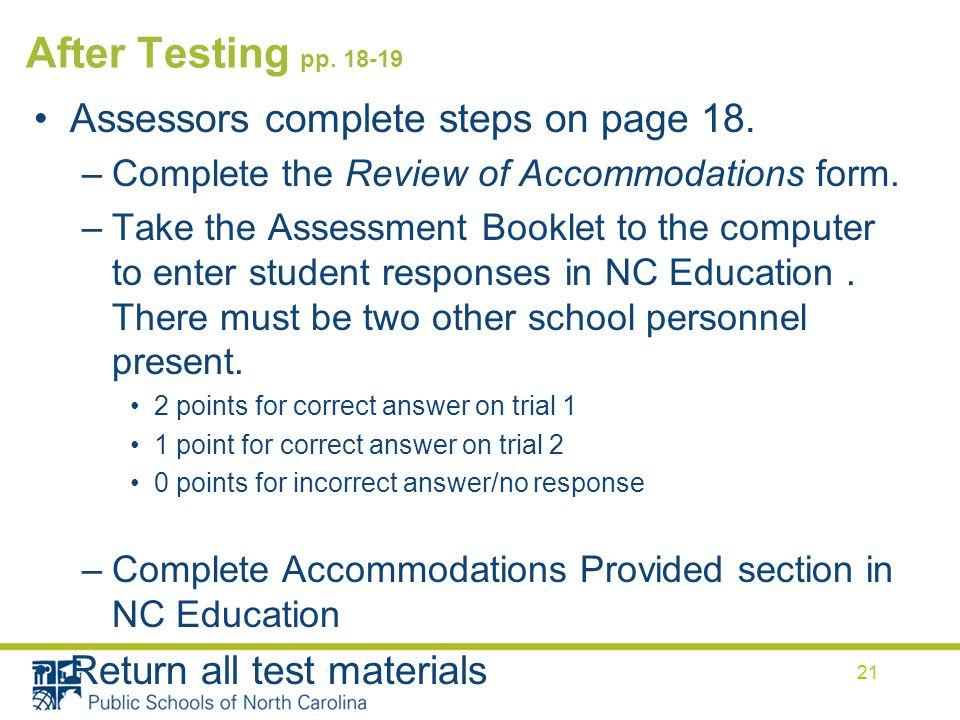 After Testing pp Assessors complete steps on page 18.