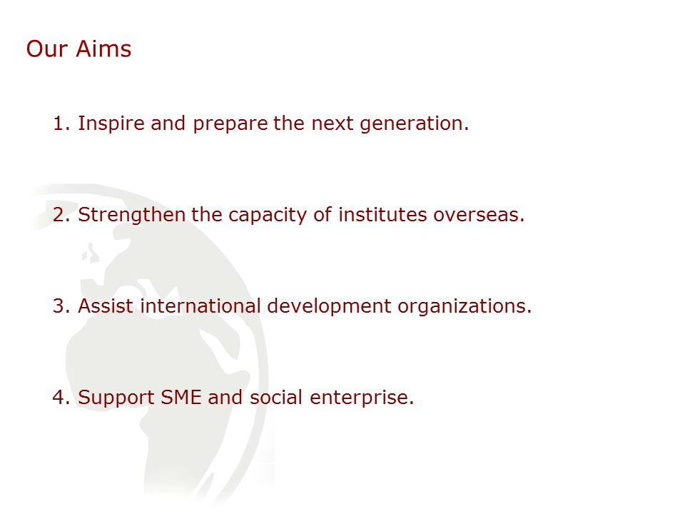 Our Aims 1. Inspire and prepare the next generation.