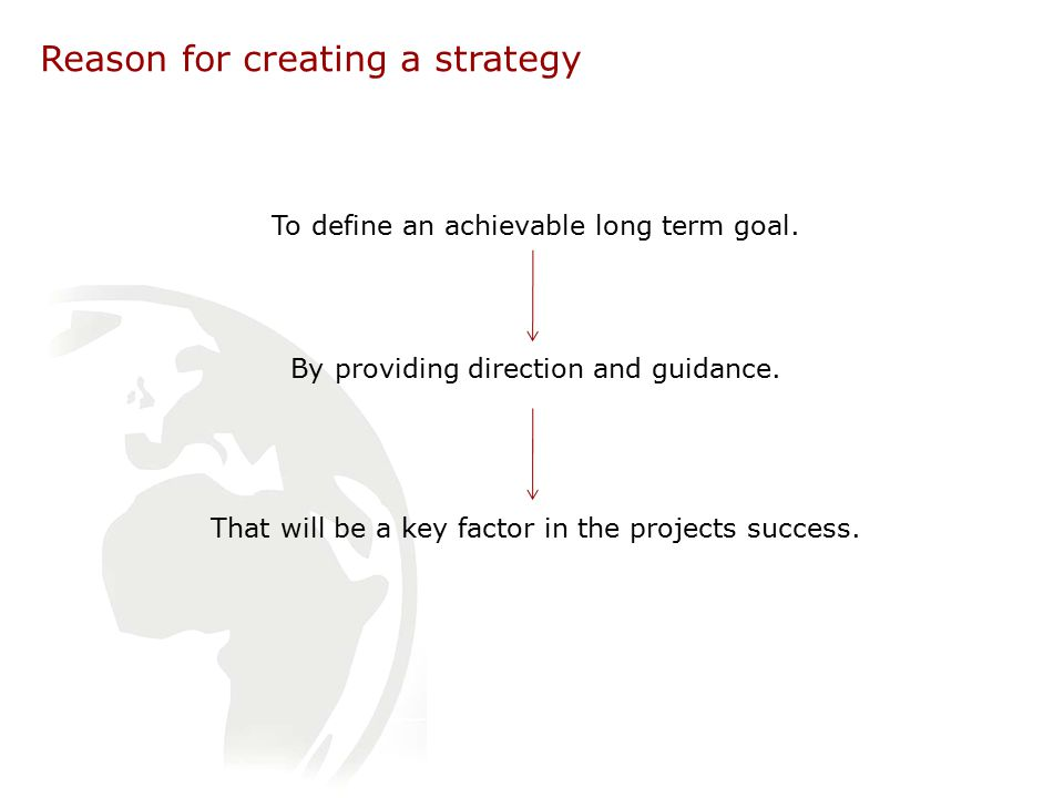 Reason for creating a strategy To define an achievable long term goal.
