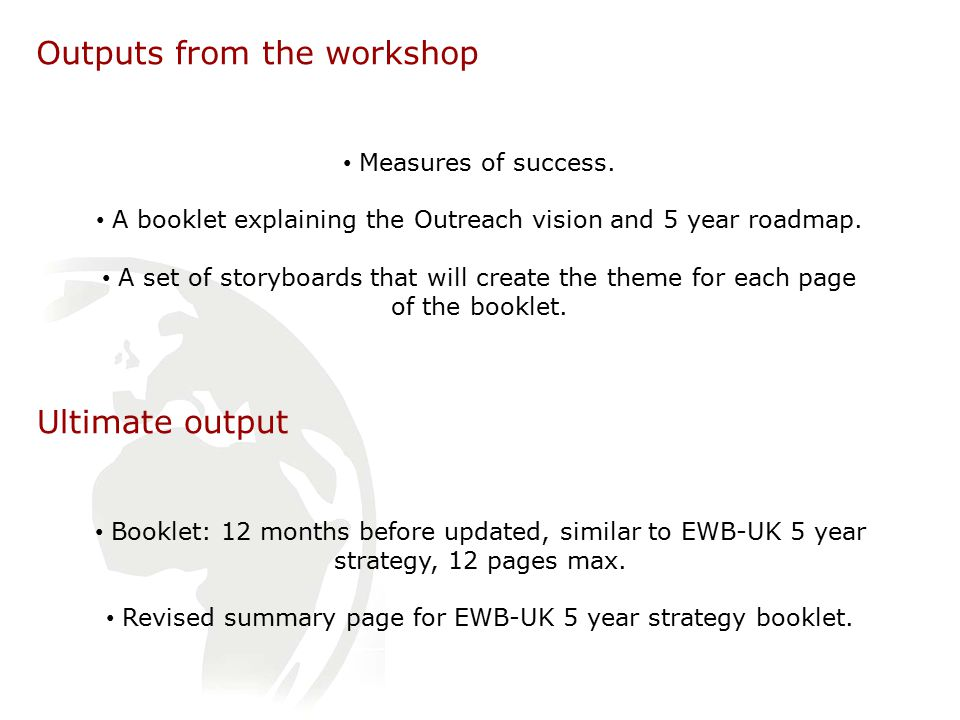 Outputs from the workshop Measures of success.