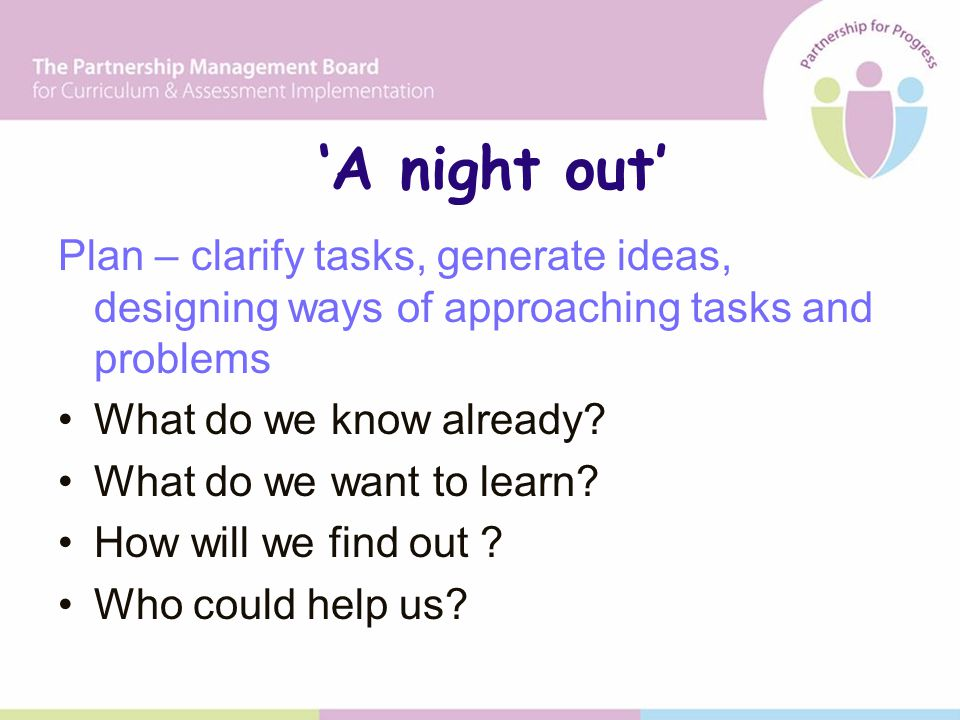 'A night out' Plan – clarify tasks, generate ideas, designing ways of approaching tasks and problems What do we know already.