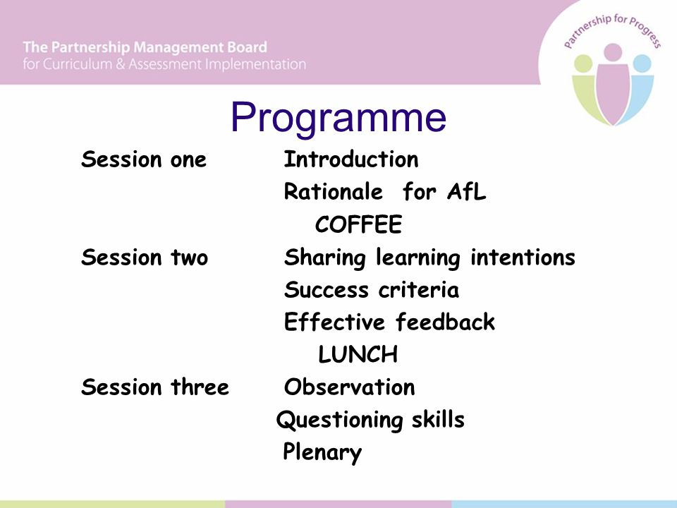 Programme Session oneIntroduction Rationale for AfL COFFEE Session twoSharing learning intentions Success criteria Effective feedback LUNCH Session threeObservation Questioning skills Plenary