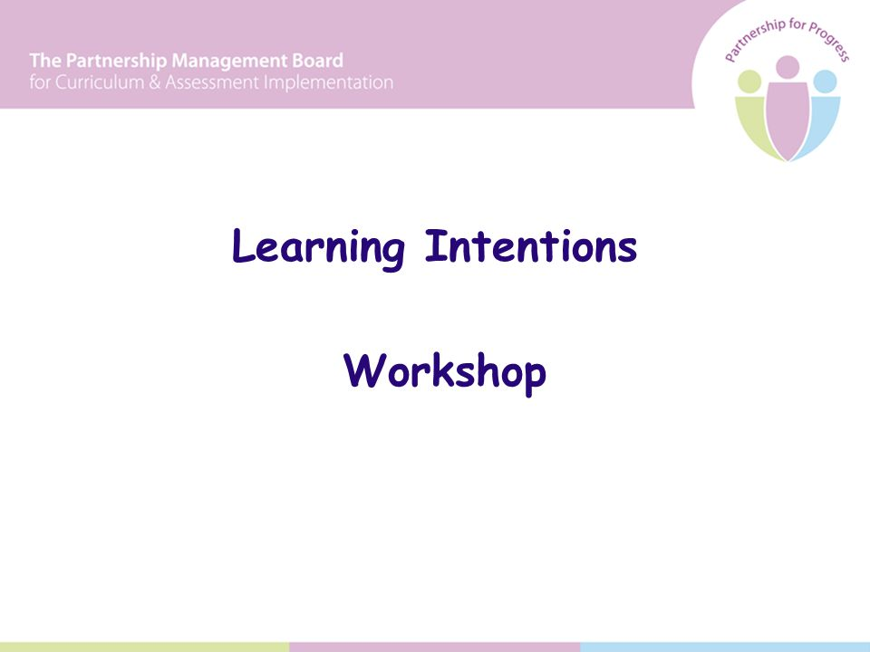 Learning Intentions Workshop