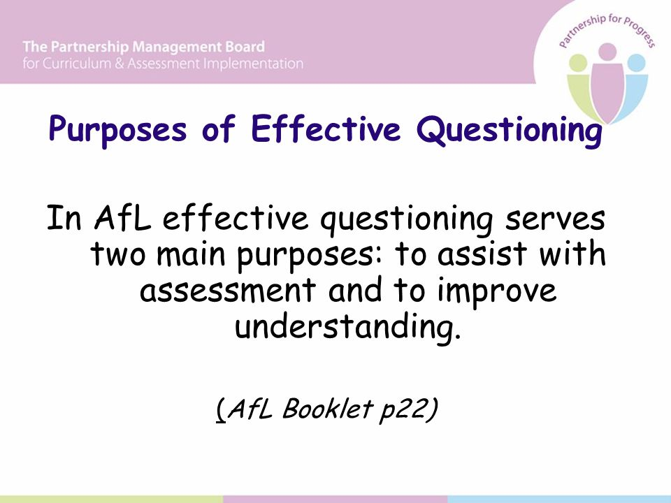 Purposes of Effective Questioning In AfL effective questioning serves two main purposes: to assist with assessment and to improve understanding.