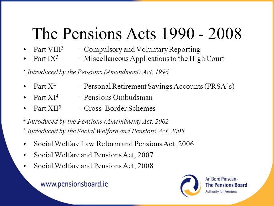 The Pensions Act, 1990 Implications for Public Sector