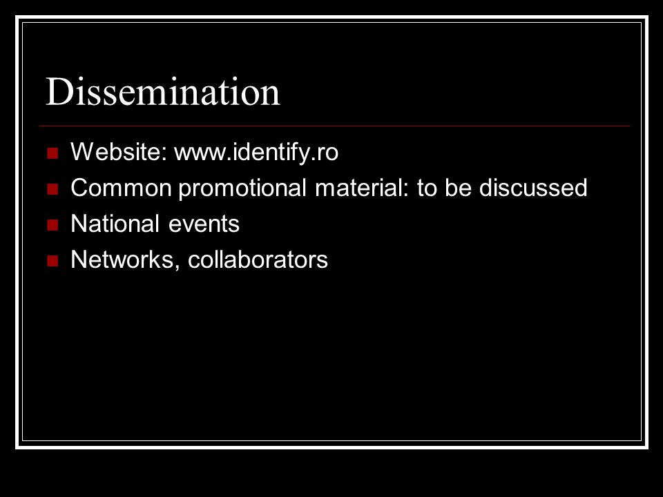Dissemination Website:   Common promotional material: to be discussed National events Networks, collaborators