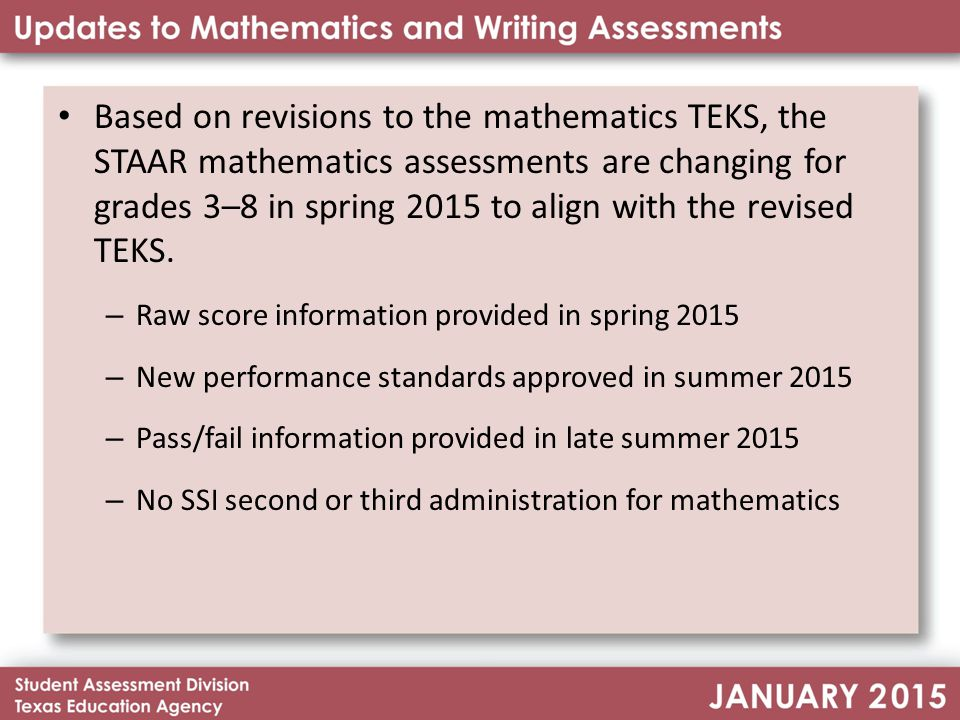 Staar A Staar Alternate 2 Changes To Mathematics Assessments Changes