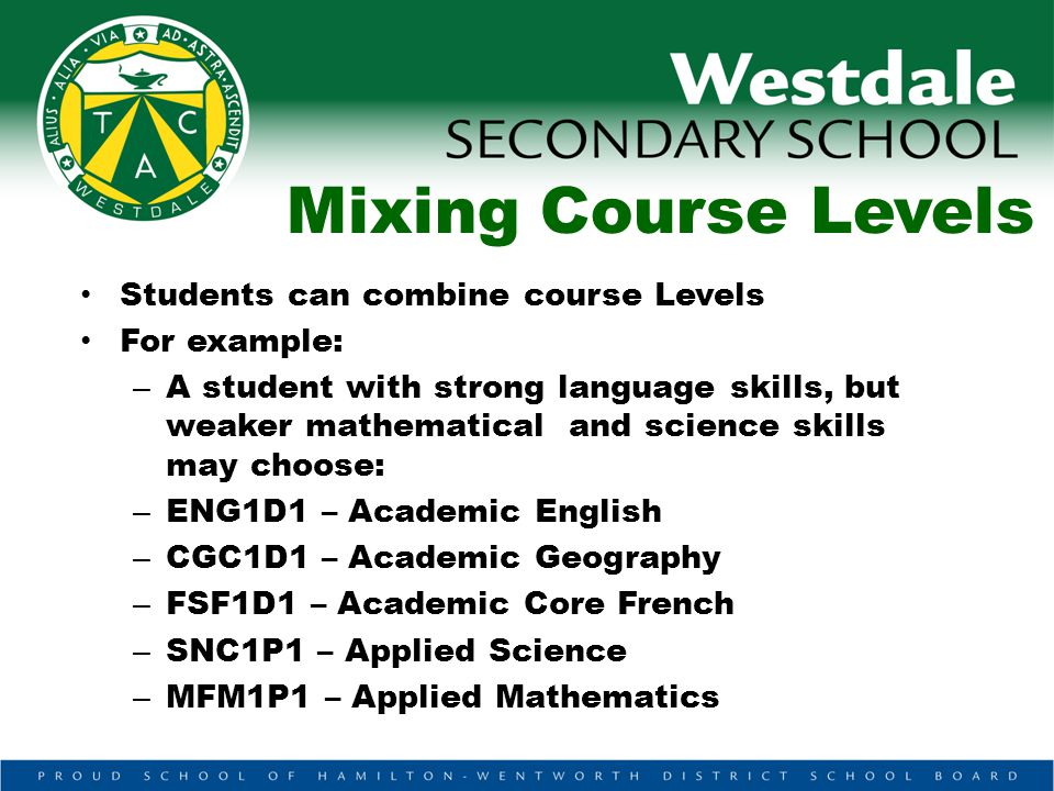 Mixing Course Levels Students can combine course Levels For example: – A student with strong language skills, but weaker mathematical and science skills may choose: – ENG1D1 – Academic English – CGC1D1 – Academic Geography – FSF1D1 – Academic Core French – SNC1P1 – Applied Science – MFM1P1 – Applied Mathematics
