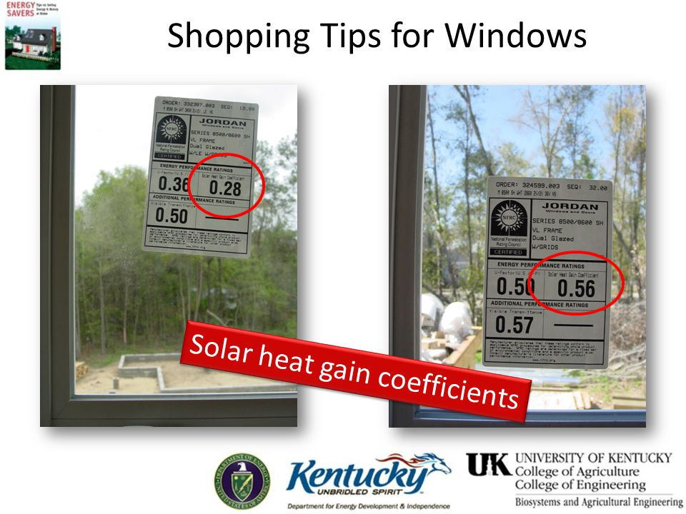 Shopping Tips for Windows Solar heat gain coefficients