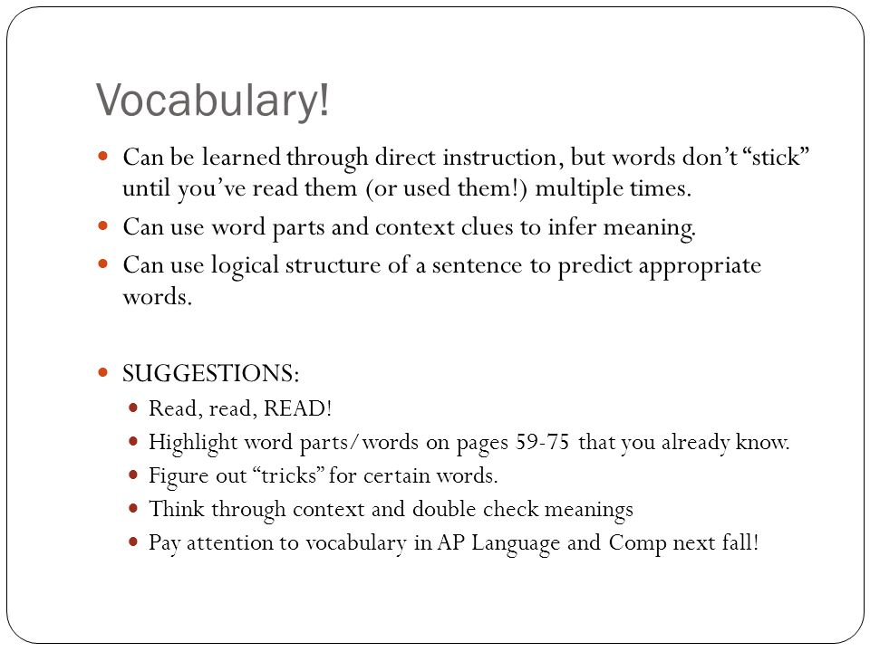 Vocabulary.