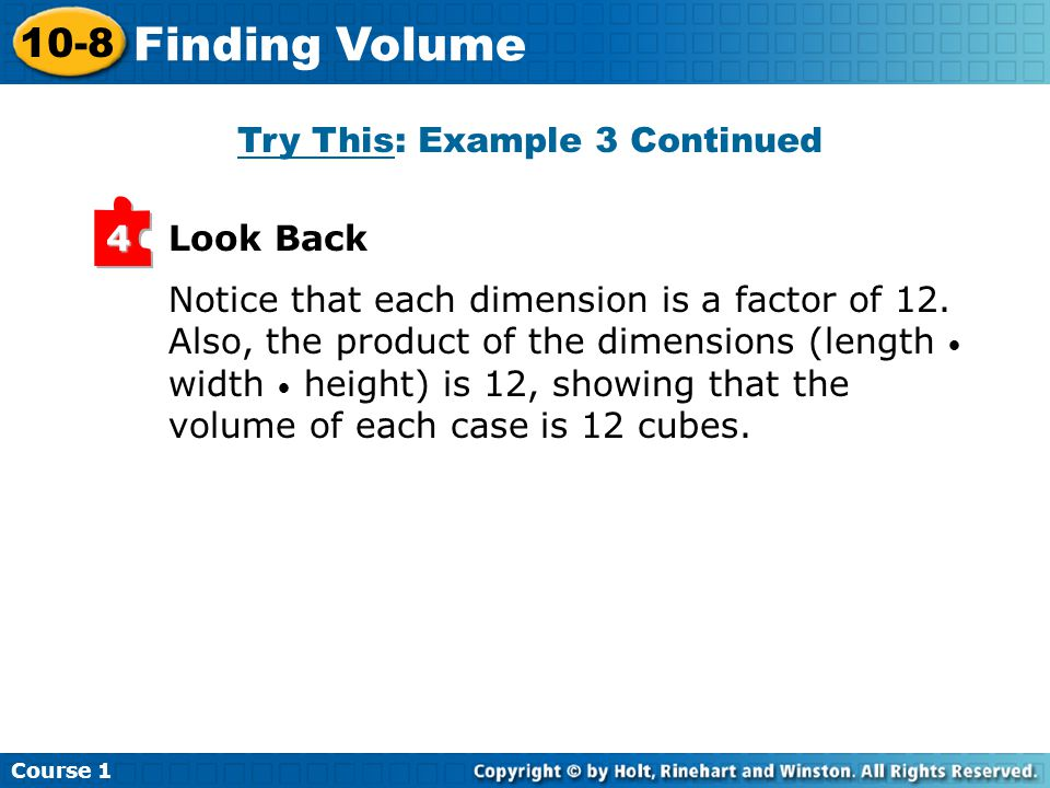 Notice that each dimension is a factor of 12.