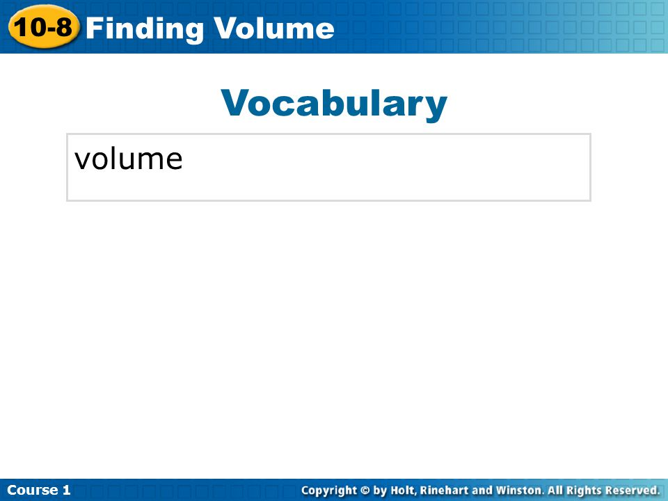 Vocabulary volume Insert Lesson Title Here Course Finding Volume