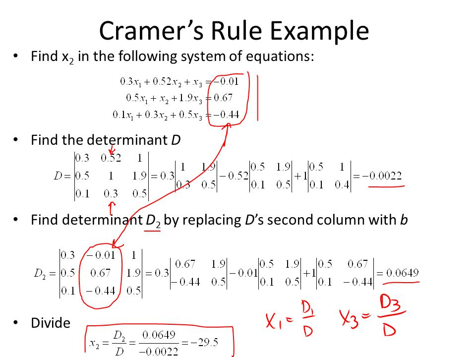 Cramer's Rule Example Find x 2 in the following system of equations: Find the determinant D Find determinant D 2 by replacing D's second column with b Divide
