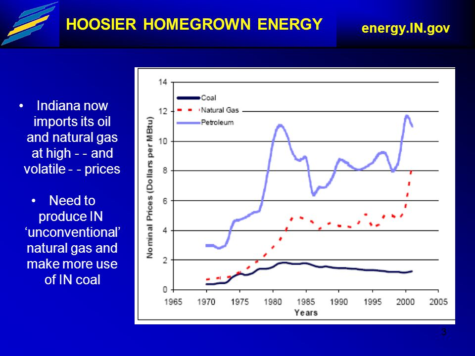 3 HOOSIER HOMEGROWN ENERGY energy.IN.gov Indiana now imports its oil and natural gas at high - - and volatile - - prices Need to produce IN 'unconventional' natural gas and make more use of IN coal