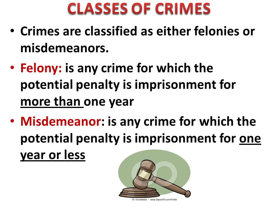 Crimes are classified as either felonies or misdemeanors.