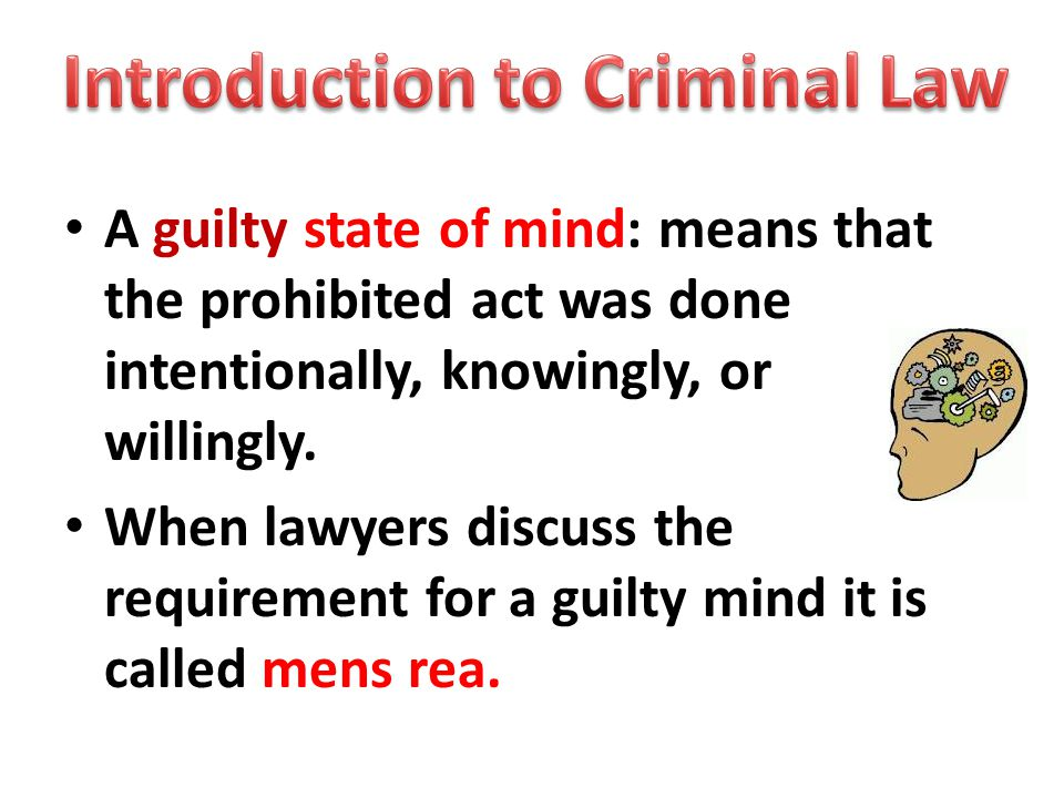 A guilty state of mind: means that the prohibited act was done intentionally, knowingly, or willingly.