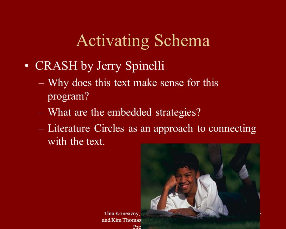 Tina Koneazny, USC Readers Plus and Kim Thomas-Barrios, USC NAI Program 15 Activating Schema CRASH by Jerry Spinelli –Why does this text make sense for this program.