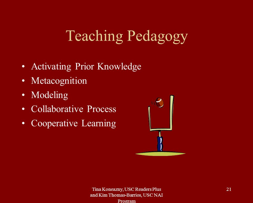 Tina Koneazny, USC Readers Plus and Kim Thomas-Barrios, USC NAI Program 21 Teaching Pedagogy Activating Prior Knowledge Metacognition Modeling Collaborative Process Cooperative Learning