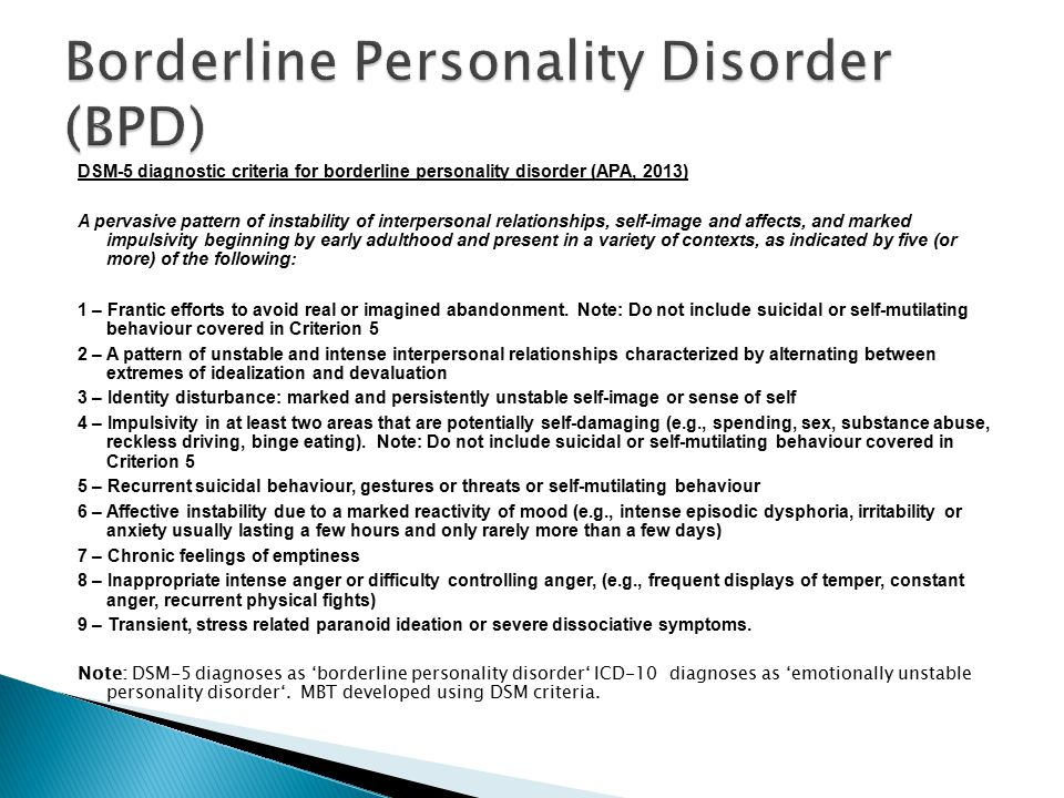 Dsm 5 Diagnostic Criteria For Borderline Personality