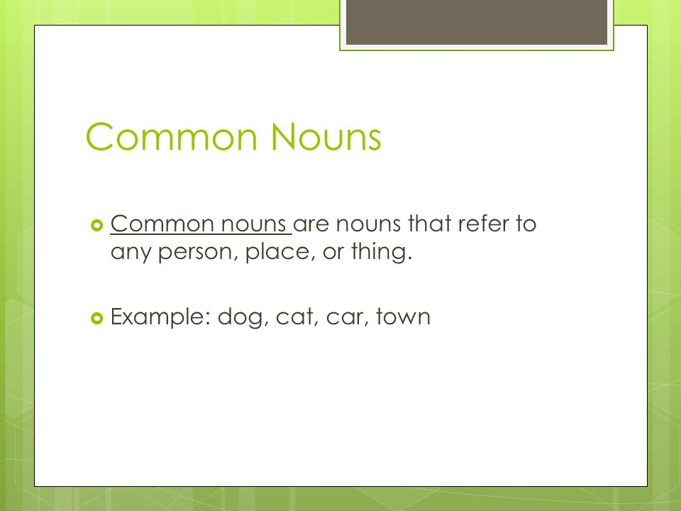 Common Nouns  Common nouns are nouns that refer to any person, place, or thing.