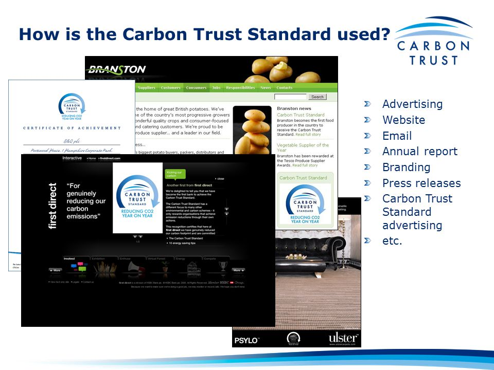 How is the Carbon Trust Standard used.