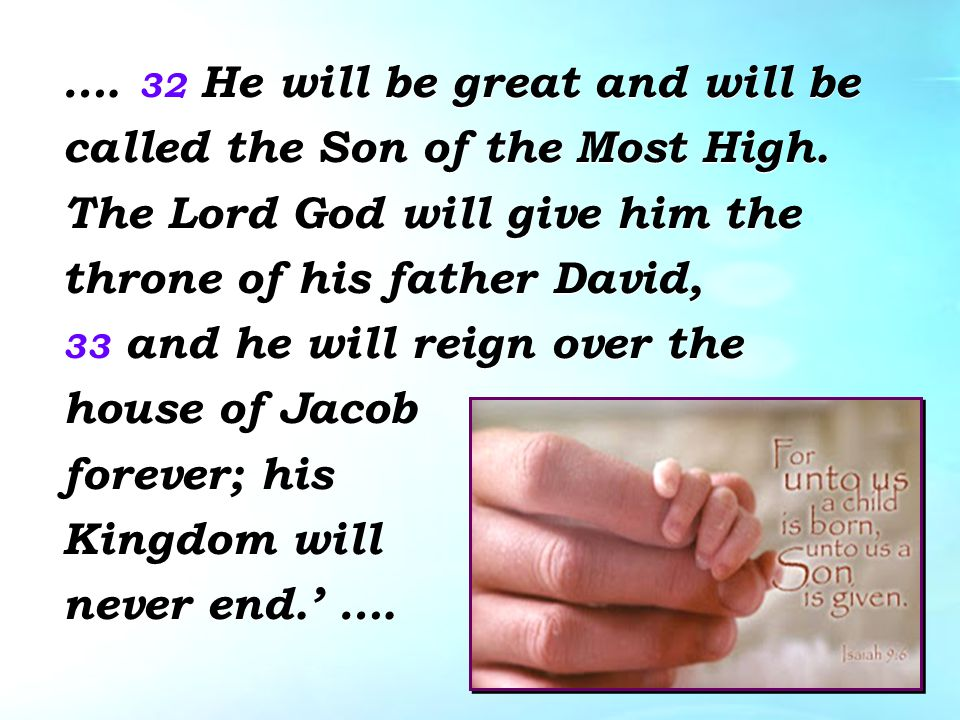 …. 32 He will be great and will be called the Son of the Most High.