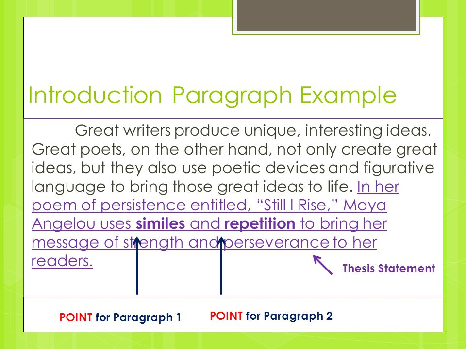 Persuasive Essay Topics For High School Introduction Paragraph Example Great Writers Produce Unique Interesting  Ideas Interview Essay Paper also Essay In English Poetic Analysis  Turning Your Pee Paragraphs Into A Complete  Thesis In An Essay