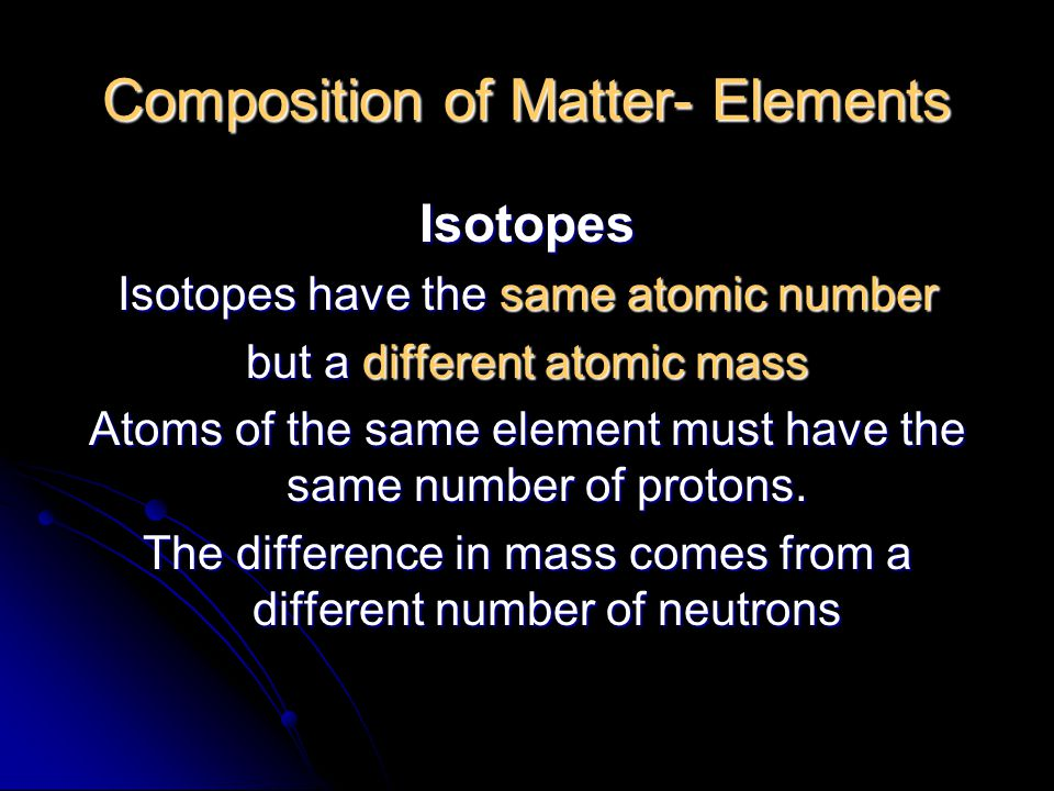 Composition of Matter- Elements Isotopes Isotopes have the same atomic number but a different atomic mass Atoms of the same element must have the same number of protons.