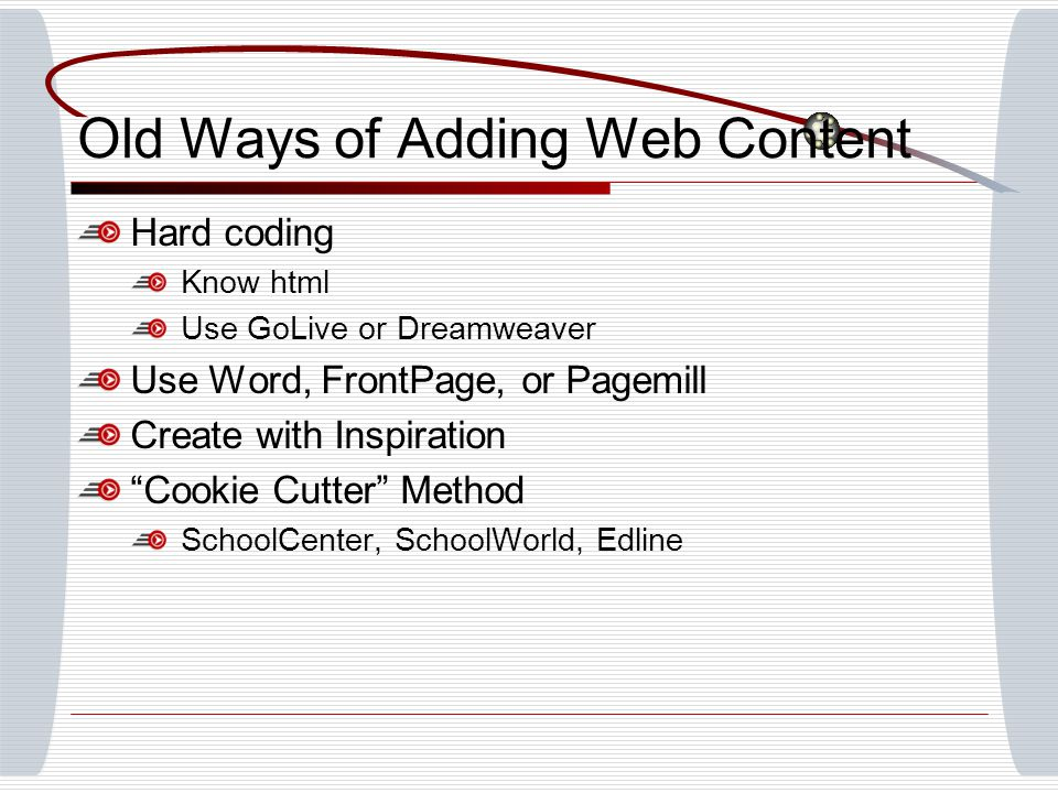 Old Ways of Adding Web Content Hard coding Know html Use GoLive or Dreamweaver Use Word, FrontPage, or Pagemill Create with Inspiration Cookie Cutter Method SchoolCenter, SchoolWorld, Edline