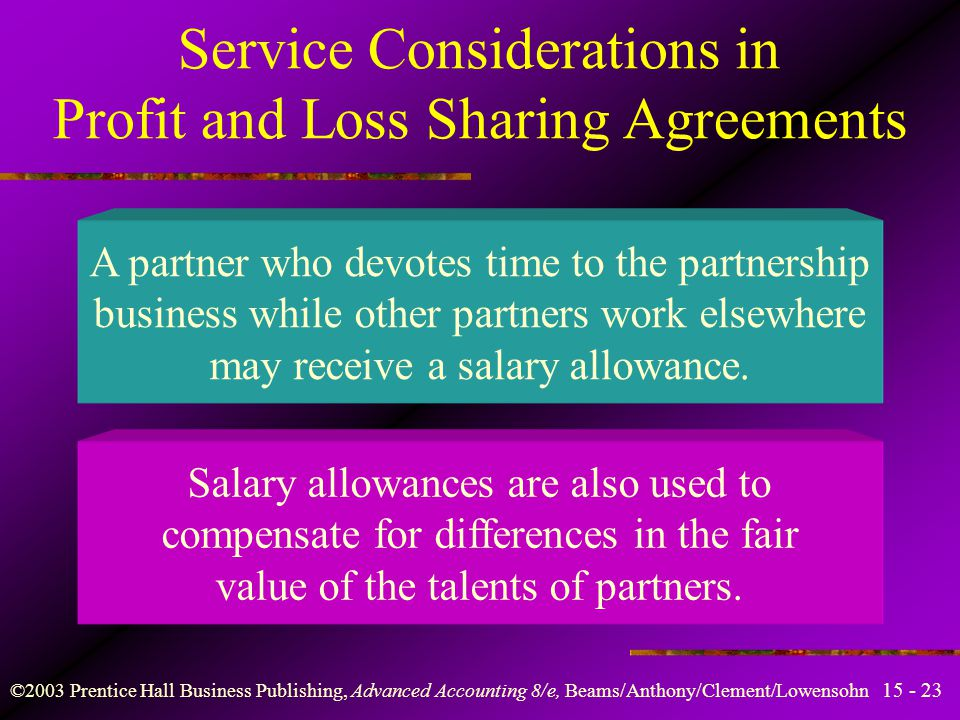 ©2003 Prentice Hall Business Publishing, Advanced Accounting 8/e, Beams/Anthony/Clement/Lowensohn Profit and Loss Sharing Agreements Equal division of partnership income is required in the absence of a profit and loss sharing agreement.