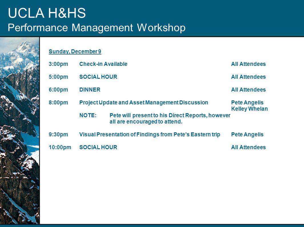 UCLA Housing & Hospitality Services Performance Management Workshop