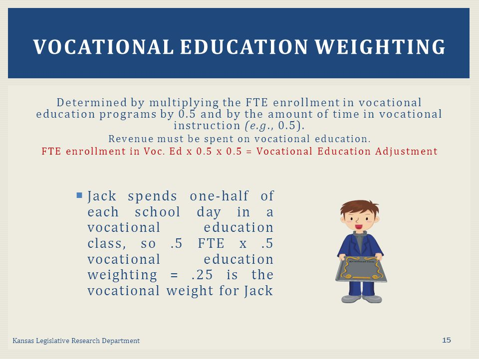 Determined by multiplying the FTE enrollment in vocational education programs by 0.5 and by the amount of time in vocational instruction (e.g., 0.5).