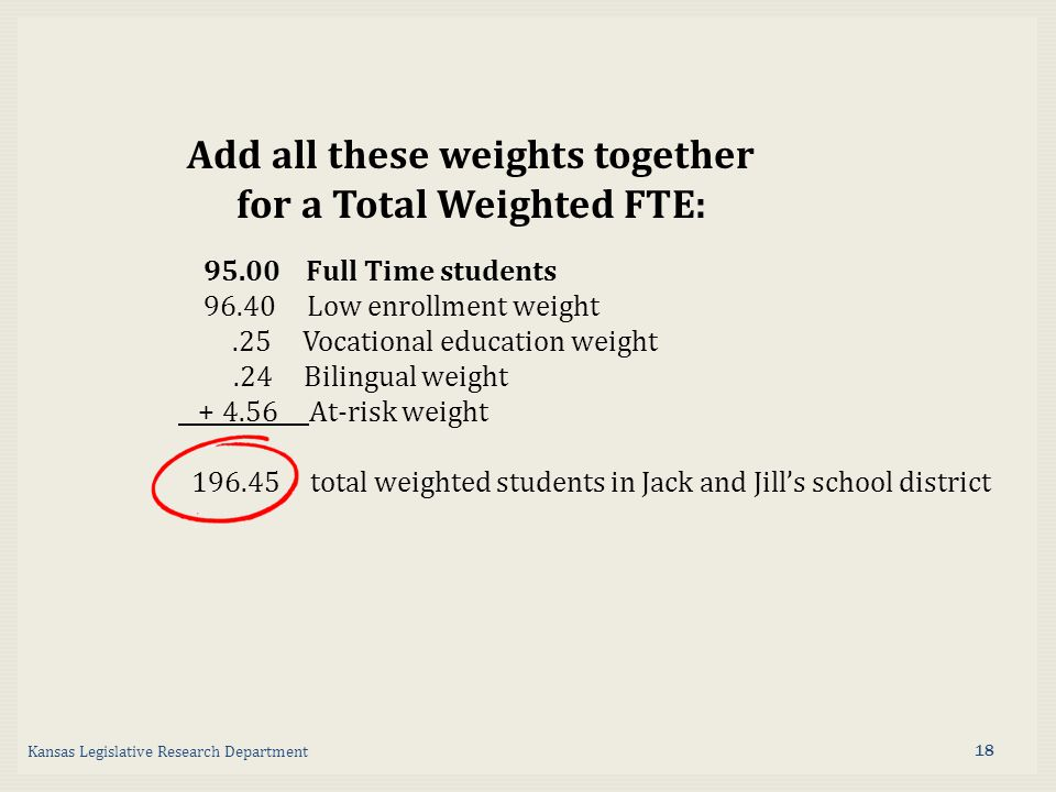 Add all these weights together for a Total Weighted FTE: Full Time students Low enrollment weight.25 Vocational education weight.24 Bilingual weight At-risk weight total weighted students in Jack and Jill's school district Kansas Legislative Research Department 18