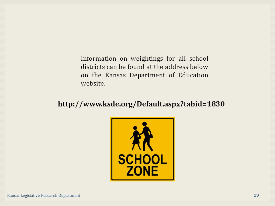 tabid=1830 Information on weightings for all school districts can be found at the address below on the Kansas Department of Education website.