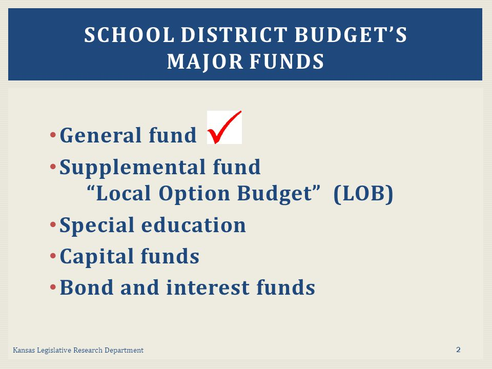 General fund Supplemental fund Local Option Budget (LOB) Special education Capital funds Bond and interest funds Kansas Legislative Research Department SCHOOL DISTRICT BUDGET'S MAJOR FUNDS 2