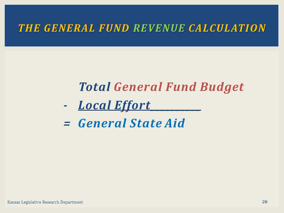 Total General Fund Budget - Local Effort__________ = General State Aid Kansas Legislative Research Department THE GENERAL FUND REVENUE CALCULATION 28