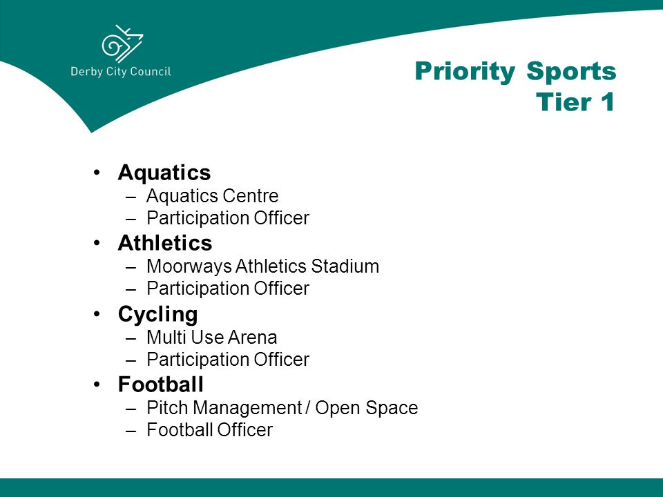 Priority Sports Tier 1 Aquatics –Aquatics Centre –Participation Officer Athletics –Moorways Athletics Stadium –Participation Officer Cycling –Multi Use Arena –Participation Officer Football –Pitch Management / Open Space –Football Officer
