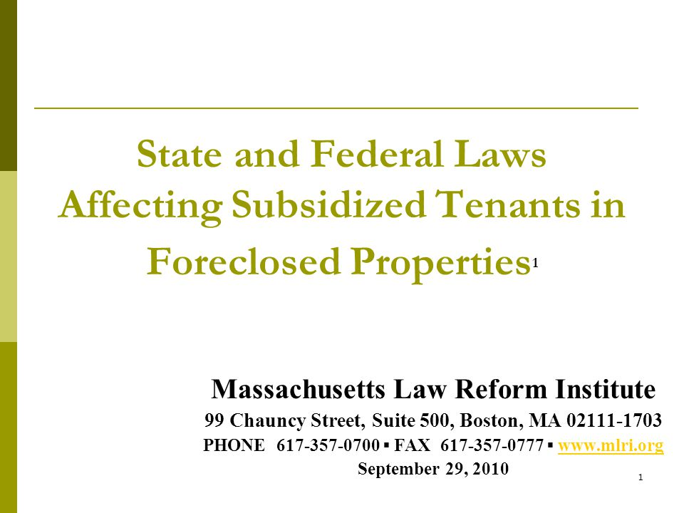 1 State And Federal Laws Affecting Subsidized Tenants In Foreclosed