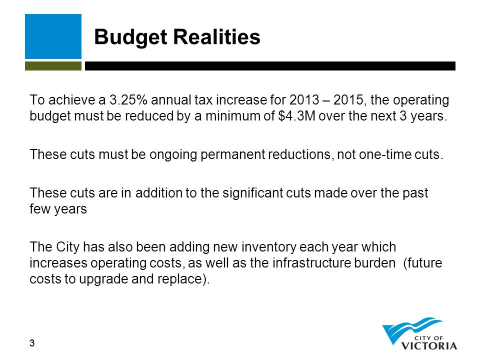 33 Budget Realities To achieve a 3.25% annual tax increase for 2013 – 2015, the operating budget must be reduced by a minimum of $4.3M over the next 3 years.